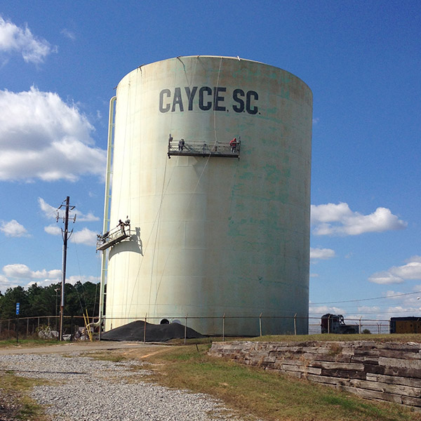 Cayce Water Tank being prepped for paint.